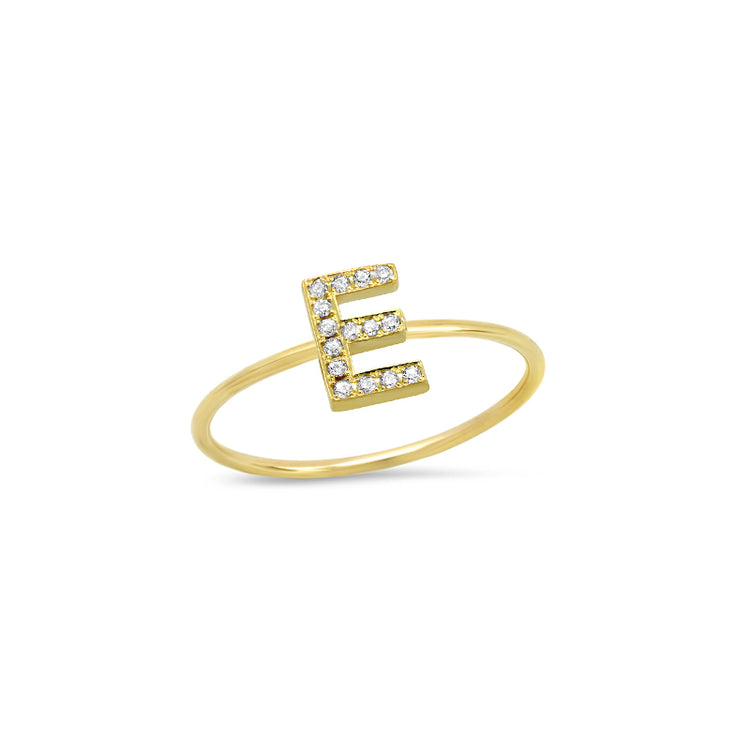 Diamond Mini Uppercase Letter Ring - E