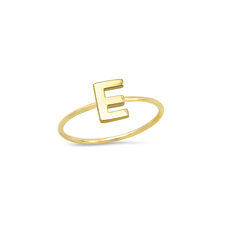 Mini Uppercase Letter Ring - E