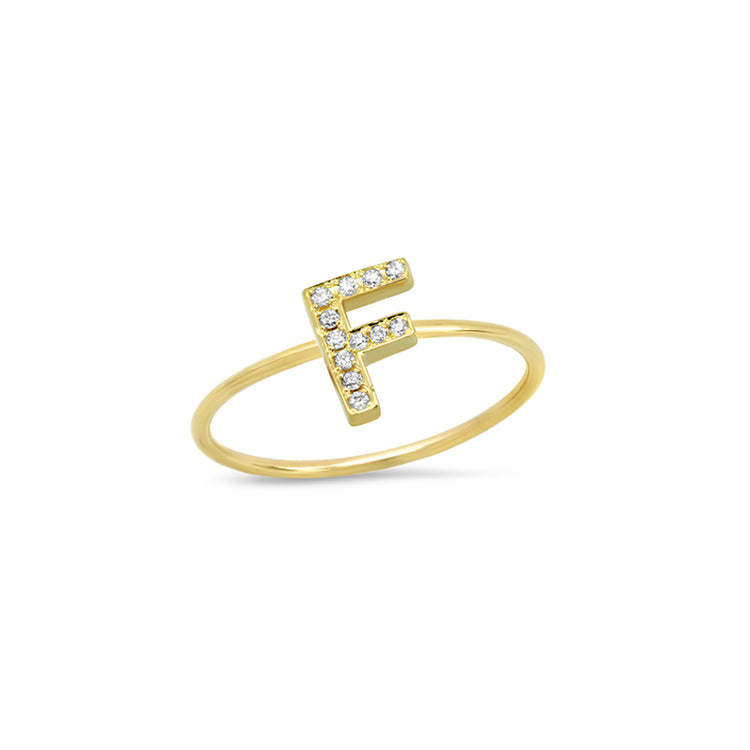 Diamond Mini Uppercase Letter Ring - F