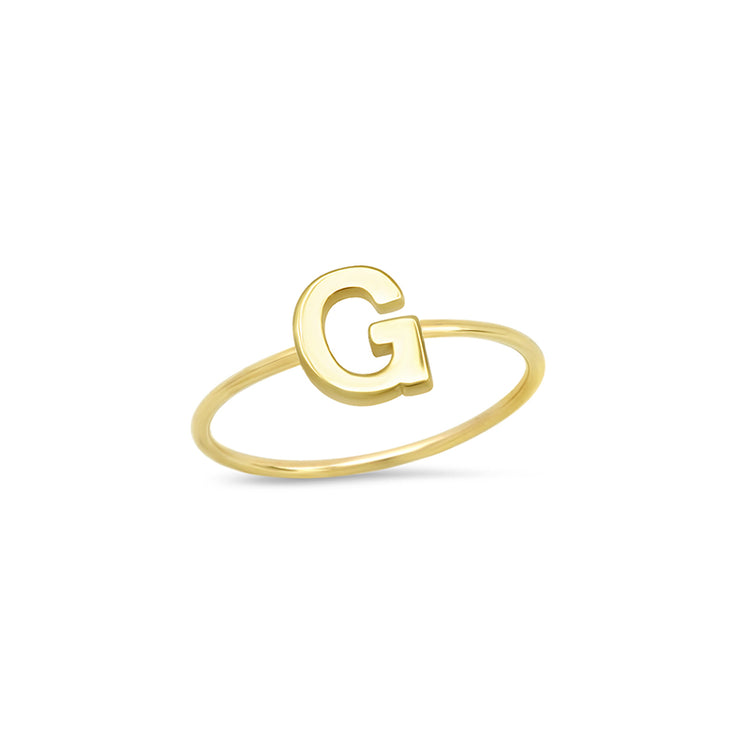 Mini Uppercase Letter Ring - G