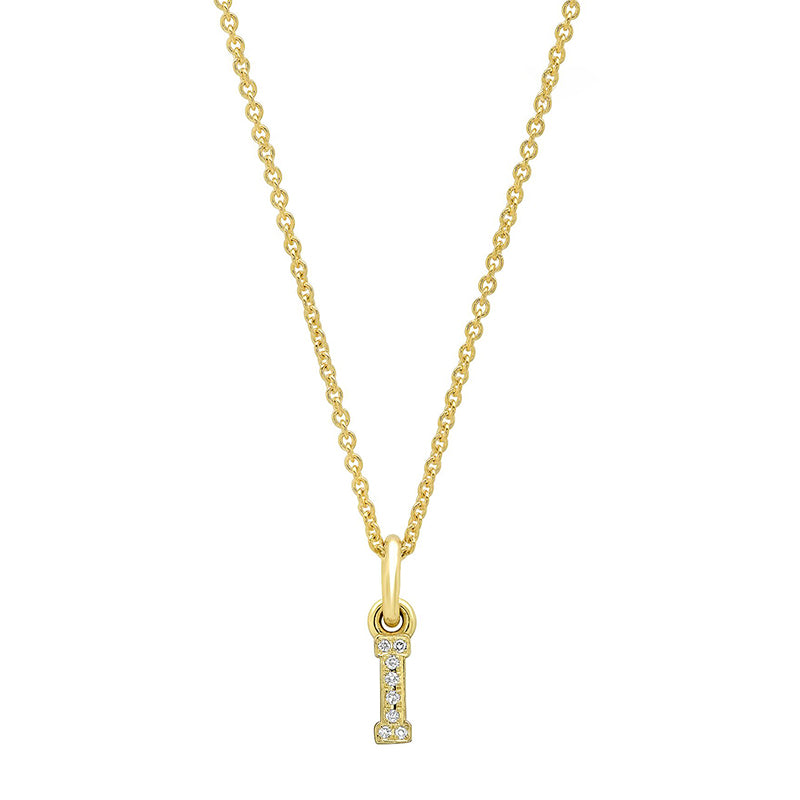 Diamond Mini Uppercase Letter Necklace - I