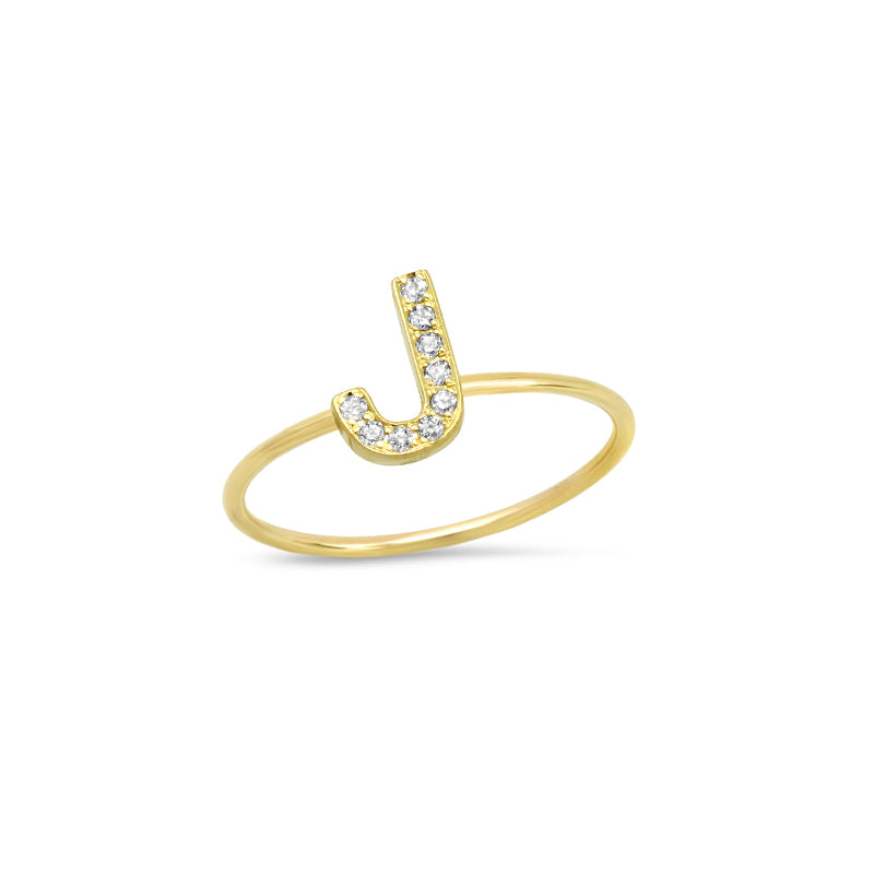 Diamond Mini Uppercase Letter Ring - J