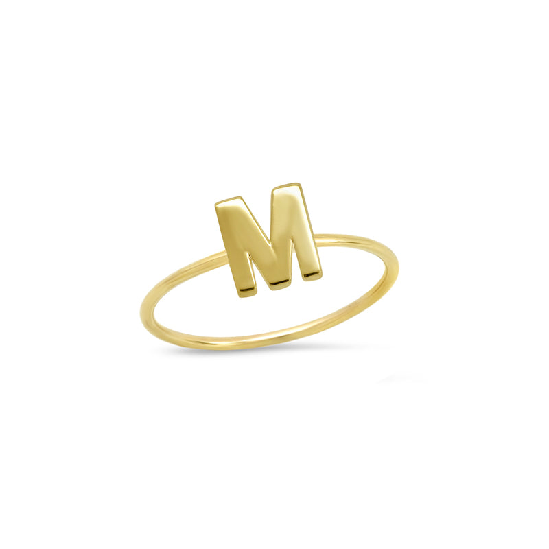 Mini Uppercase Letter Ring - M