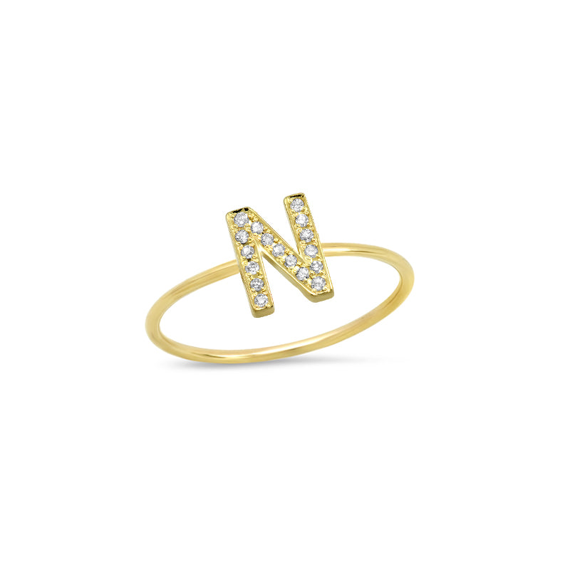 Diamond Mini Uppercase Letter Ring - N