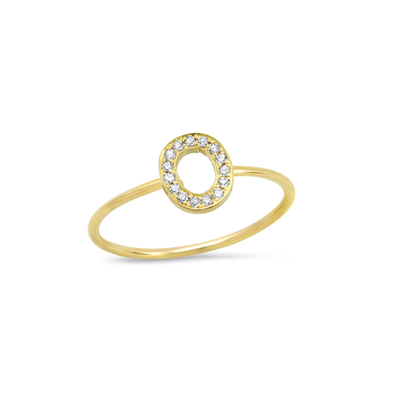 Diamond Mini Uppercase Letter Ring - O
