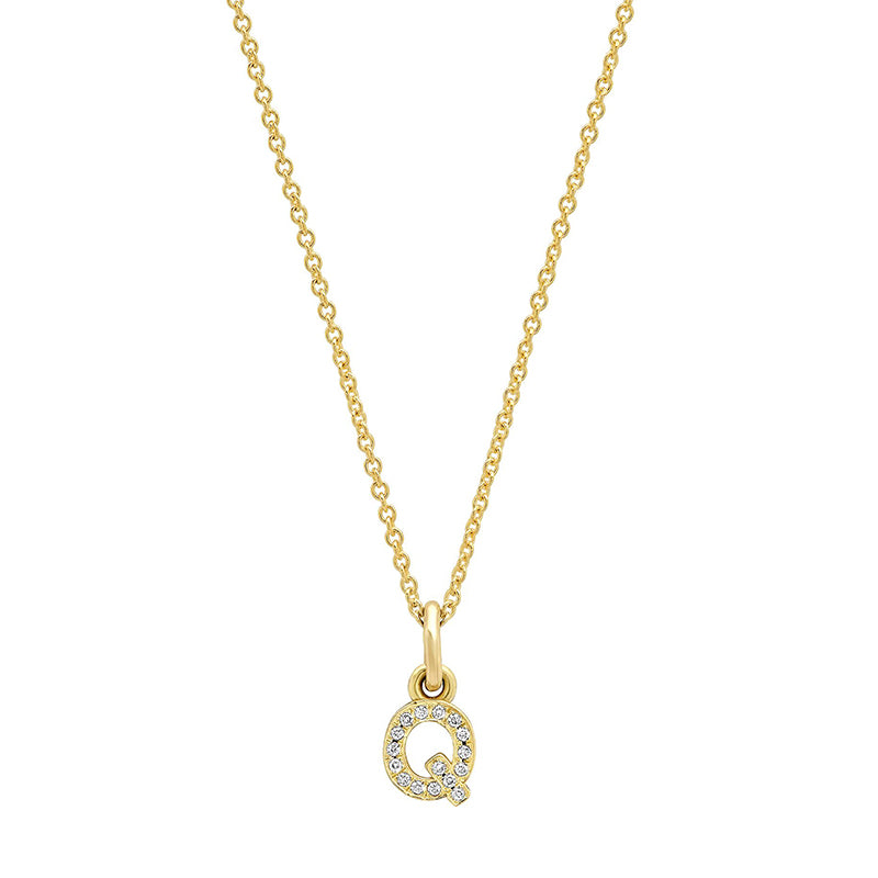 Diamond Mini Uppercase Letter Necklace - Q