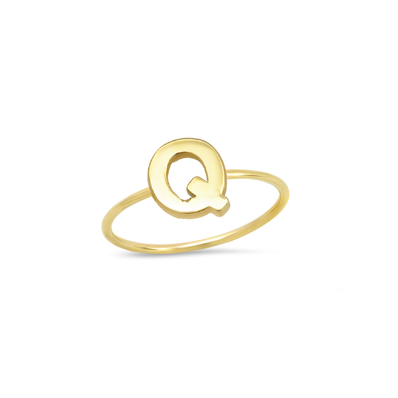 Mini Uppercase Letter Ring - Q