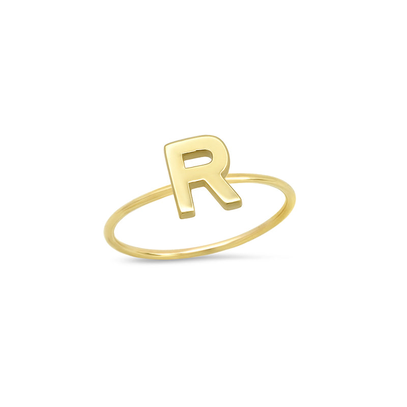 Mini Uppercase Letter Ring - R