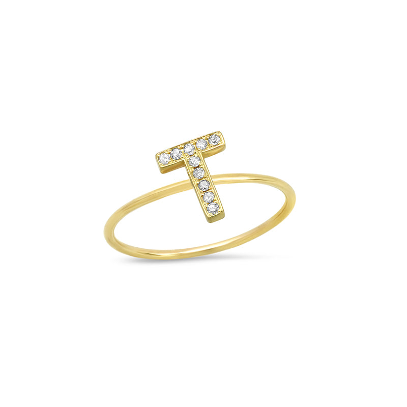 Diamond Mini Uppercase Letter Ring - T