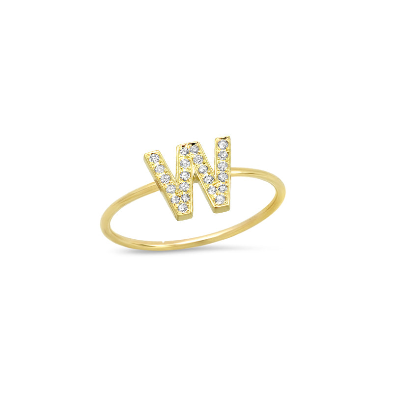 Diamond Mini Uppercase Letter Ring - W