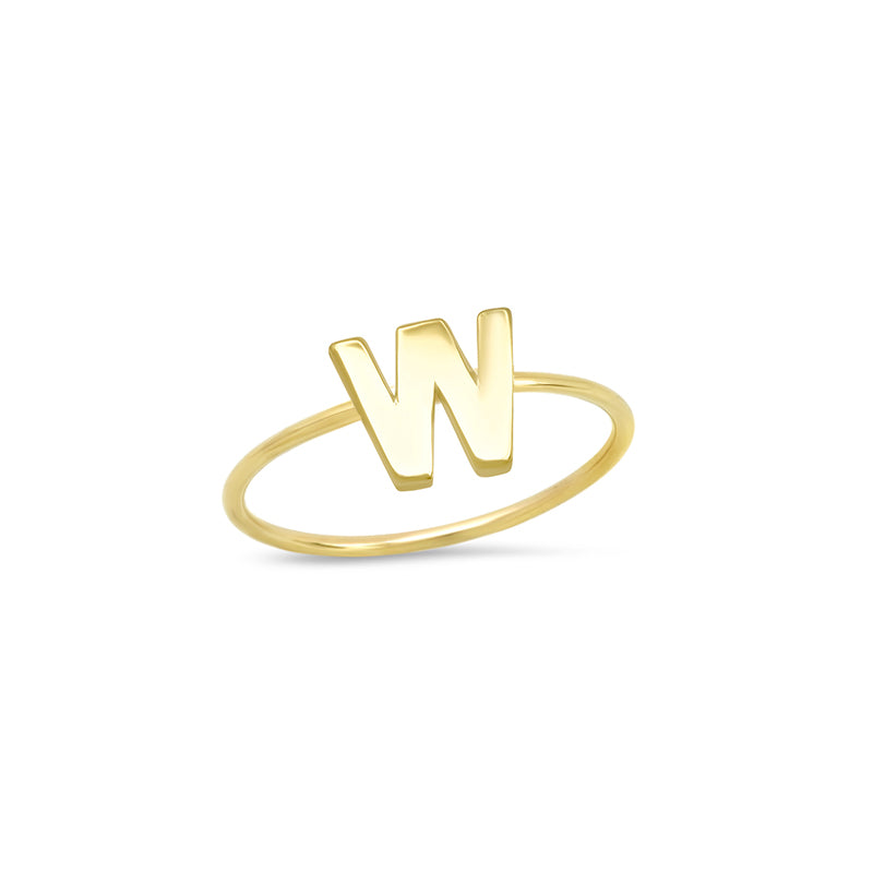 Mini Uppercase Letter Ring - W