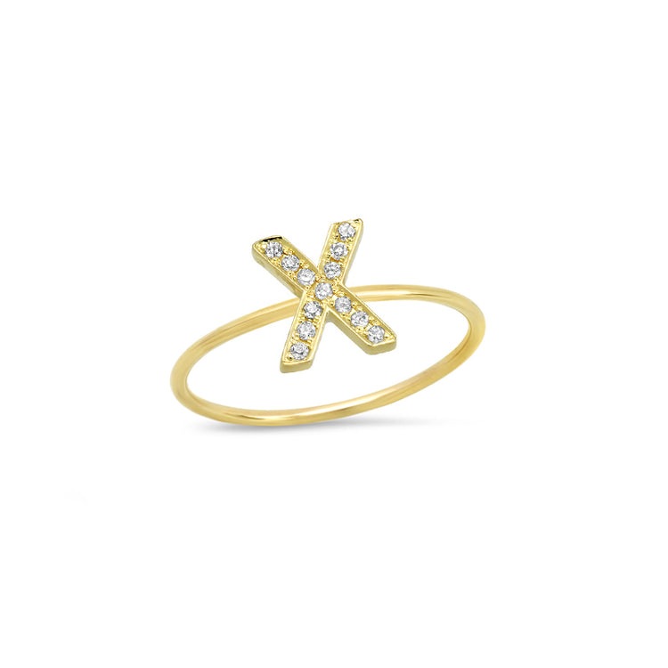 Diamond Mini Uppercase Letter Ring - X