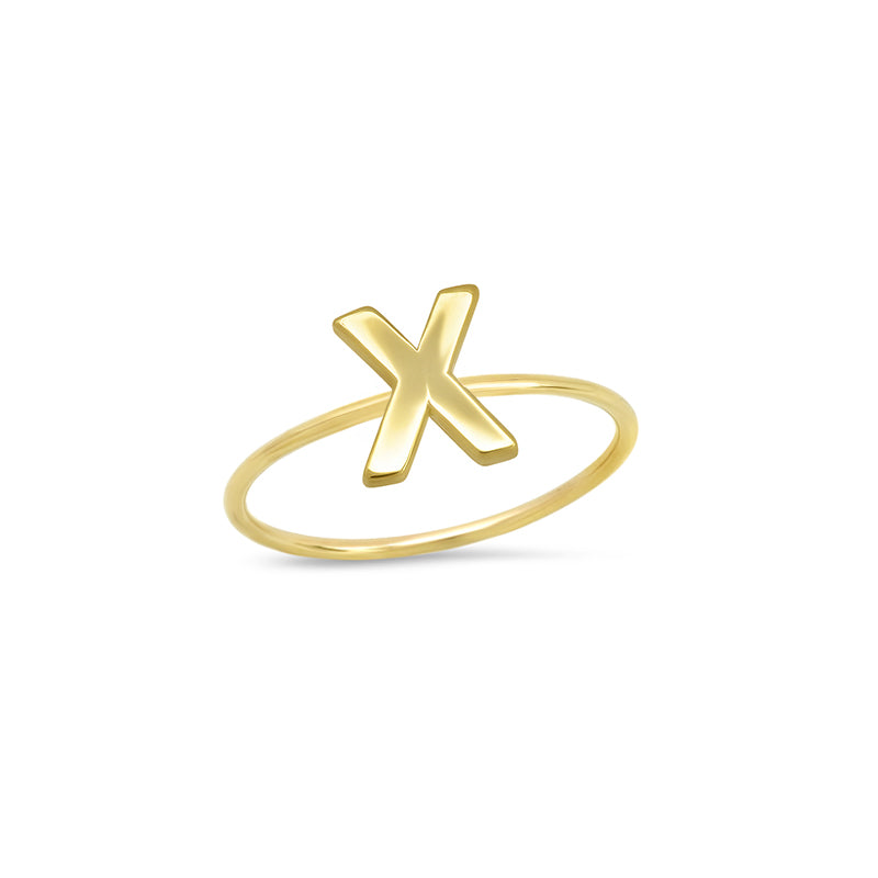 Mini Uppercase Letter Ring - X