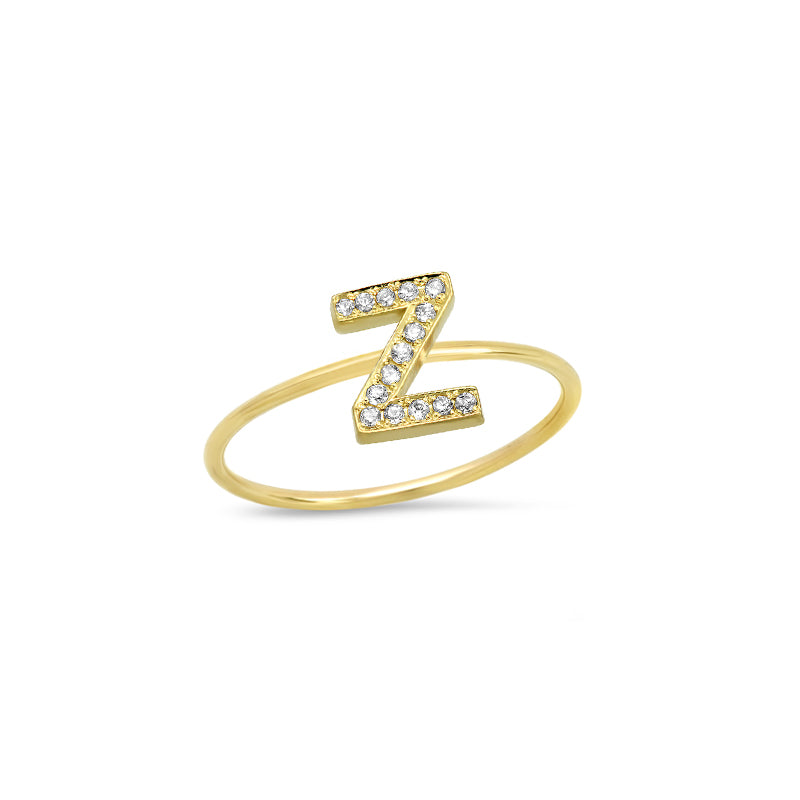 Diamond Mini Uppercase Letter Ring - Z