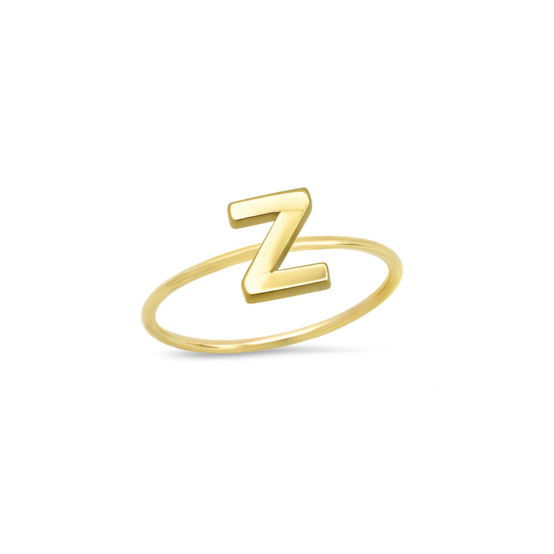 Mini Uppercase Letter Ring - Z