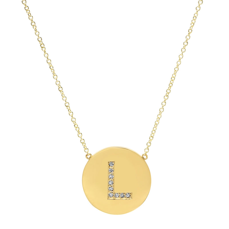 Diamond Letter Disc Necklace - L