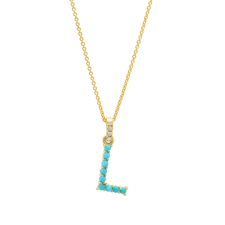 Turquoise Letter Necklace - L