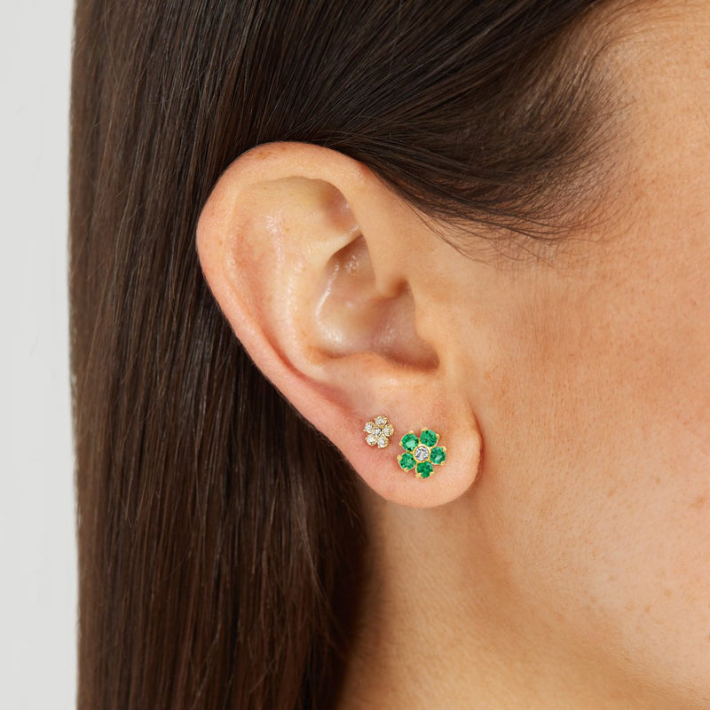 Emerald Large Flower Studs with Diamond Center