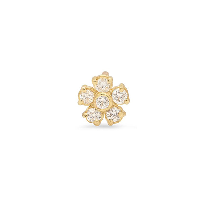 Single Diamond Large Flower Stud