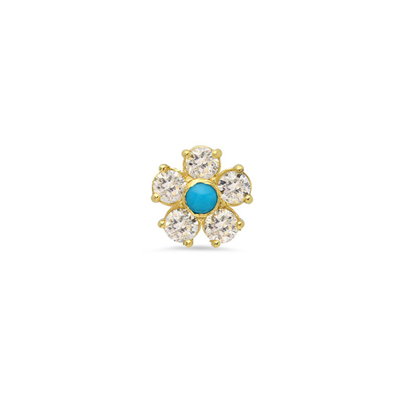 Single Diamond Large Flower Stud with Turquoise Center