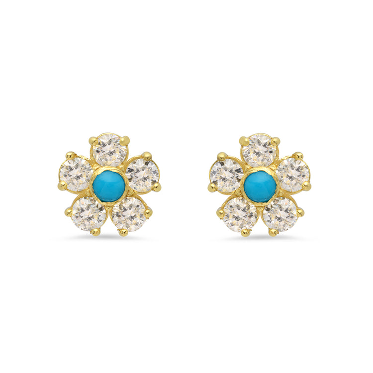 Diamond with Turquoise Center Large Flower Studs