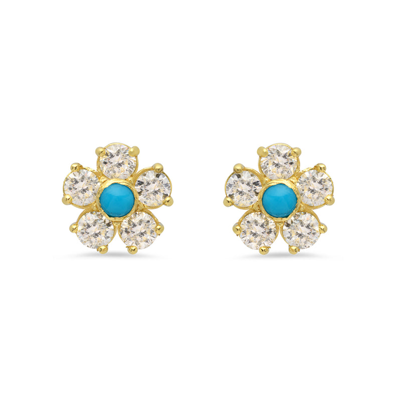 Diamond Large Flower Studs with Turquoise Center