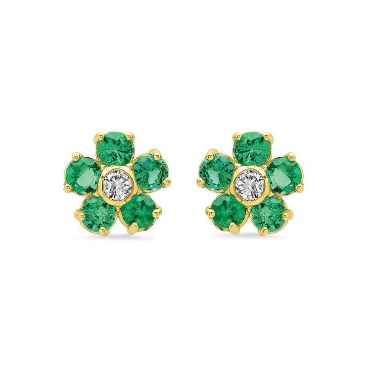 Emerald with Diamond Center Large Flower Studs
