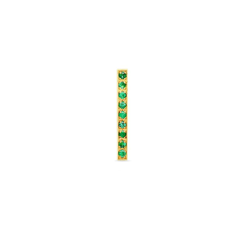 Half Pair Emerald Long Bar Studs