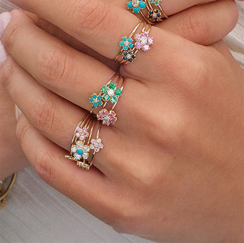 Turquoise Flower Ring with Diamond Center