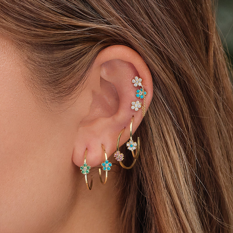 Thin Hoops with Diamond and Turquoise Flower Accent