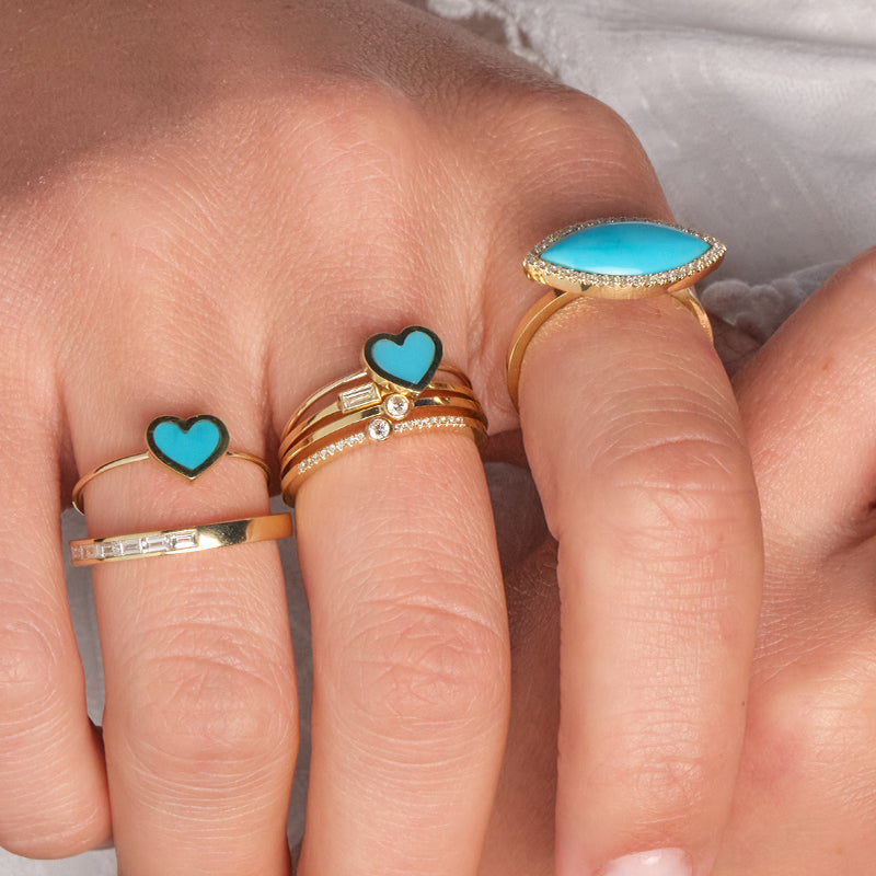 Extra Small Turquoise Inlay Heart Ring