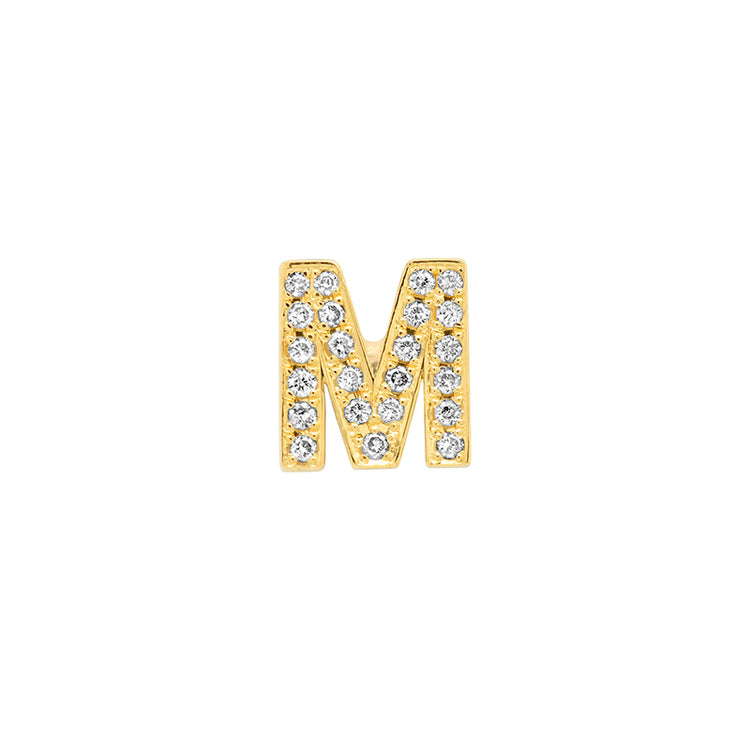 Diamond Mini Uppercase Letter Stud - M