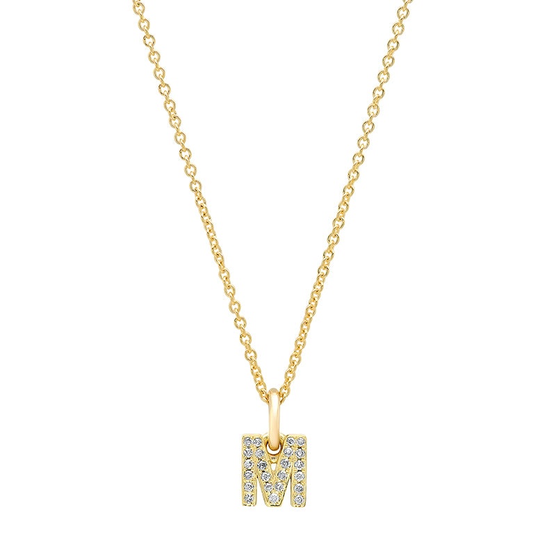Diamond Mini Uppercase Letter Necklace - M