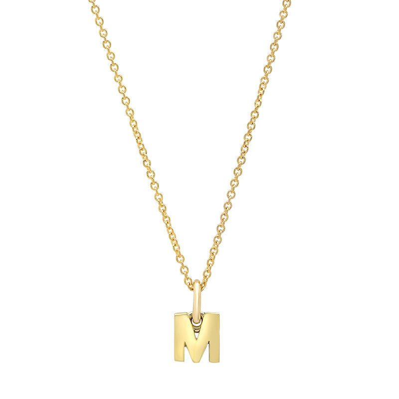 Mini Uppercase Letter Necklace - M