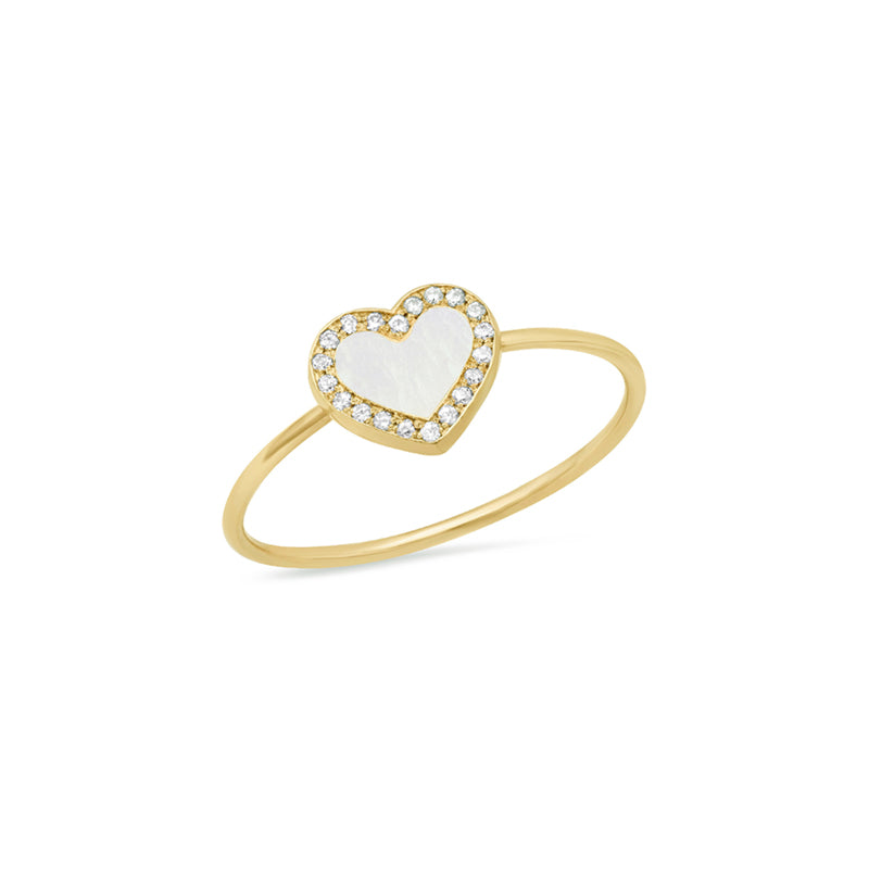 Extra Small Mother of Pearl Inlay Heart Ring with Diamonds
