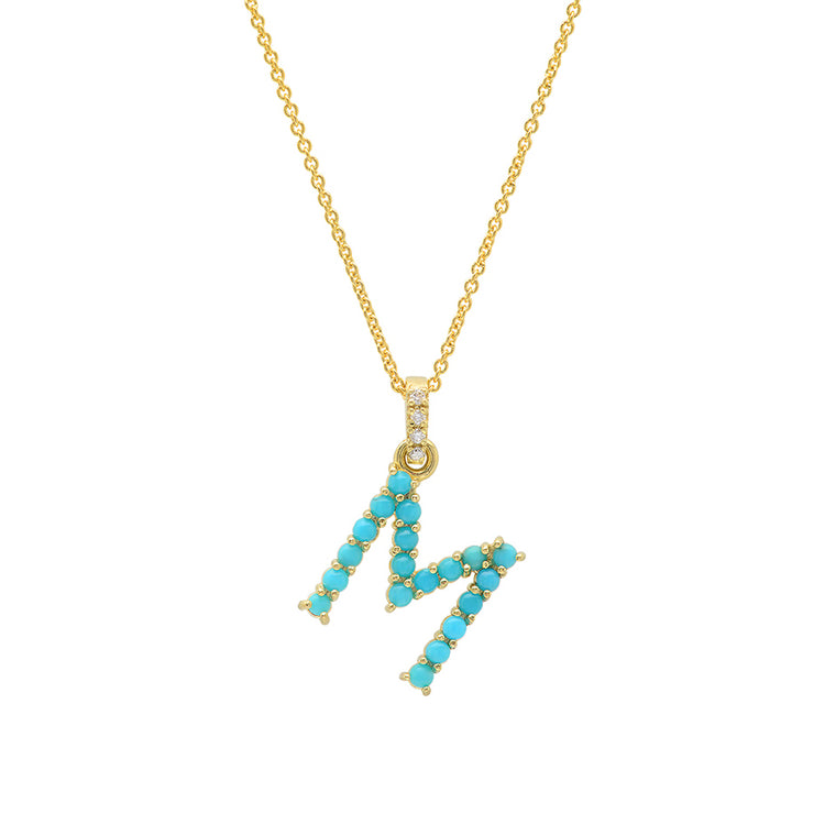 Turquoise Letter Necklace - M
