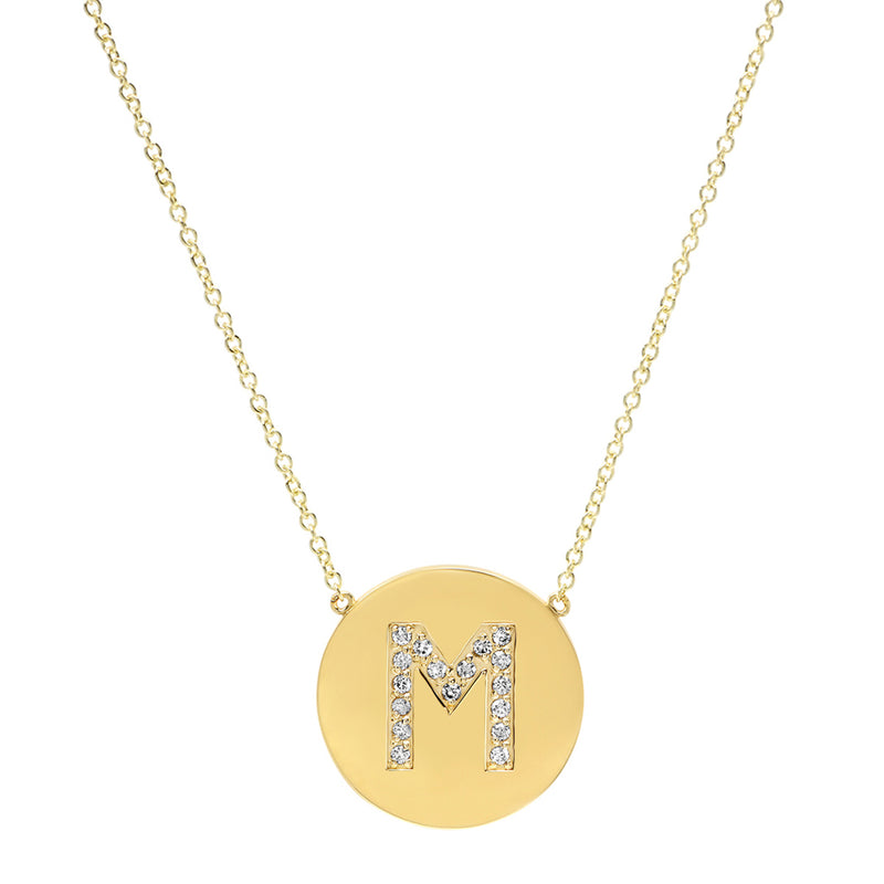Diamond Letter Disc Necklace - M