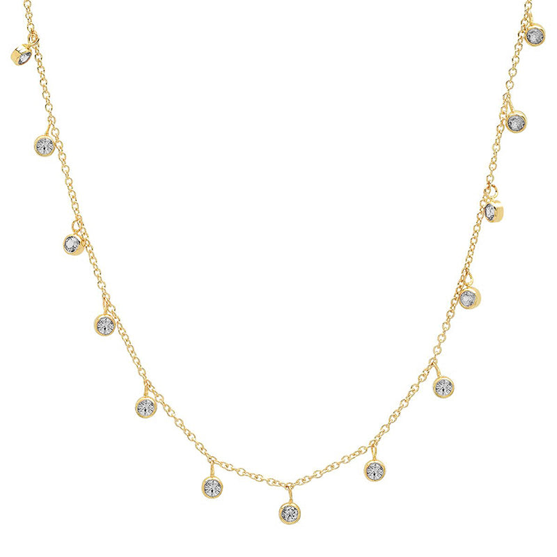 Mini Diamond Bezel Dangle By-The-Inch Necklace