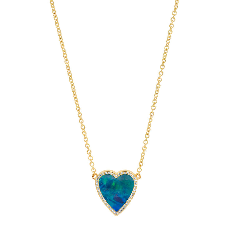 Mini Blue Boulder Opal Inlay Heart Necklace with Diamonds