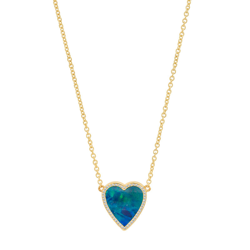 Mini Opal Inlay Heart Necklace with Diamonds