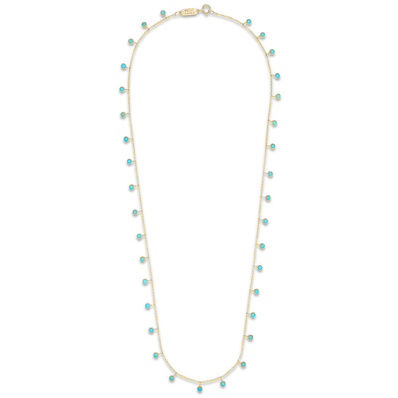 Mini Turquoise Bezel Dangle By-the-Inch Necklace