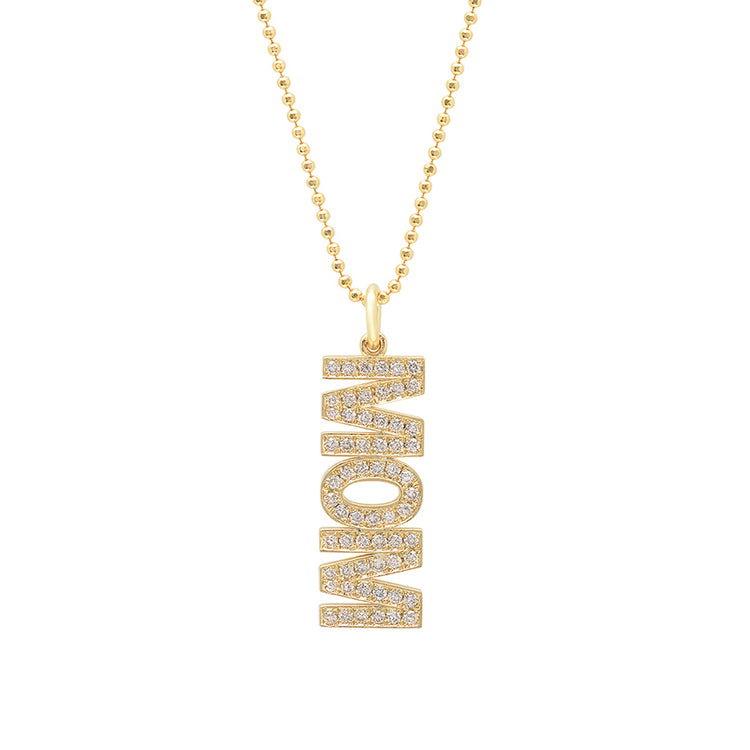 Diamond 'Mom' Pendant Necklace