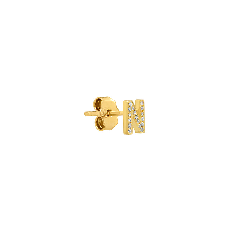 Diamond Mini Uppercase Letter Stud - N