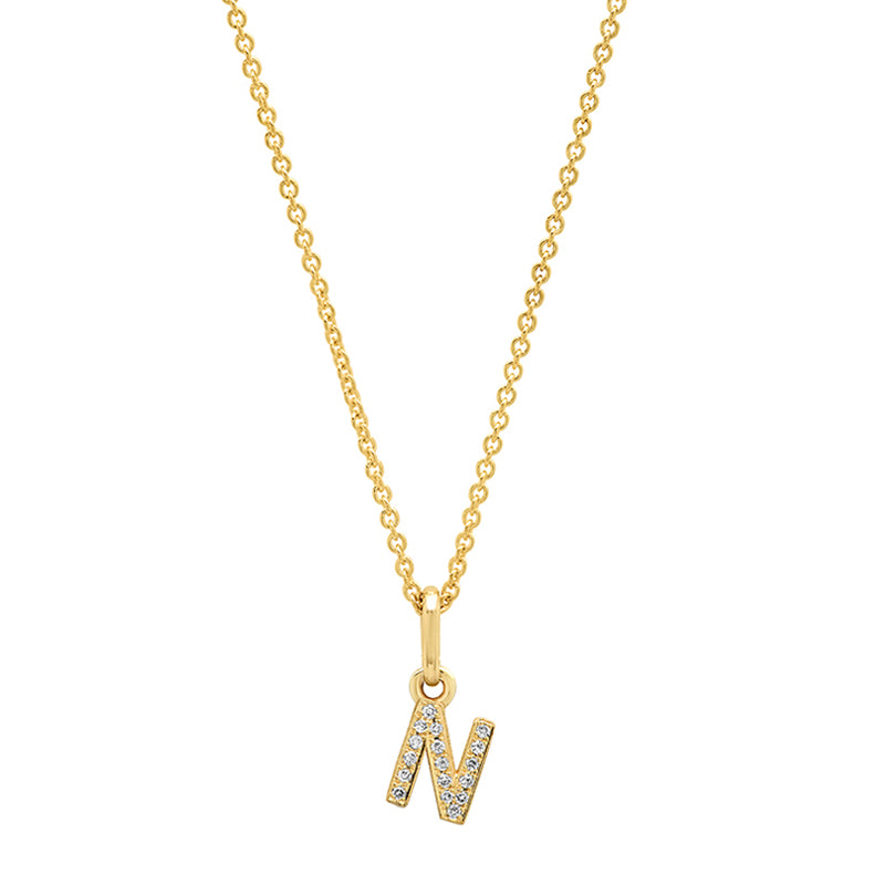 Diamond Mini Uppercase Letter Necklace - N