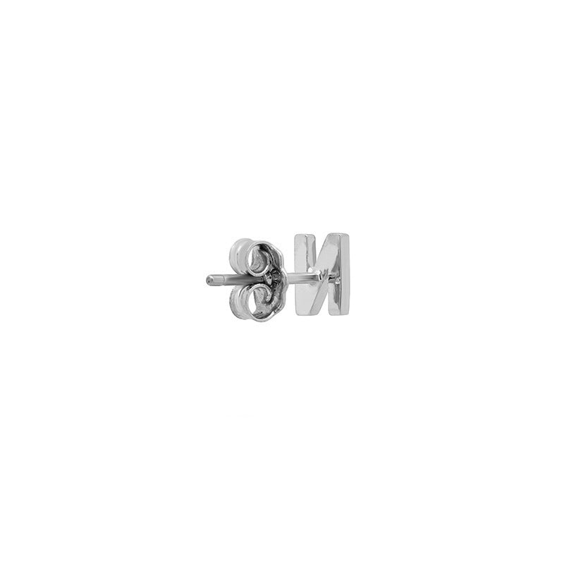 White Gold Mini Uppercase Letter Stud - N