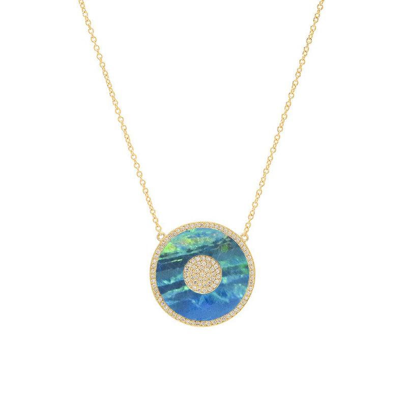 Diamond and Opal Inlay Evil Eye Necklace