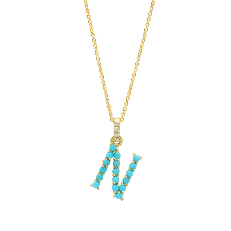 Turquoise Letter Necklace - N