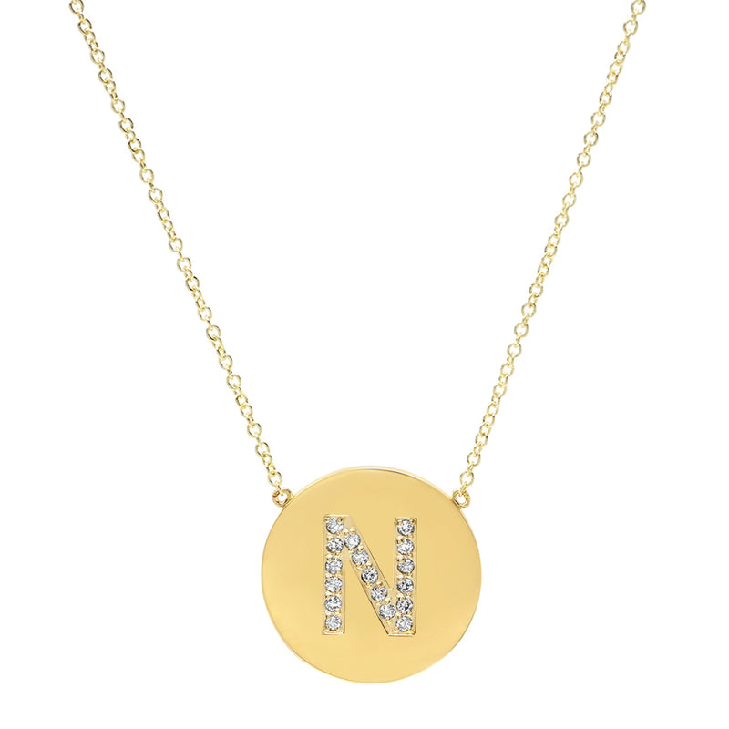 Diamond Letter Disc Necklace - N