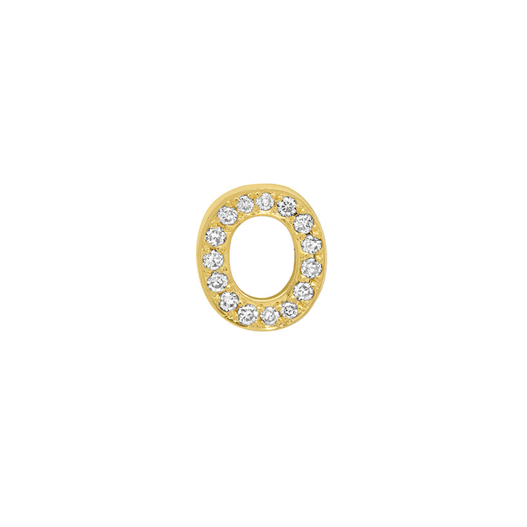 Diamond Mini Uppercase Letter Stud - O