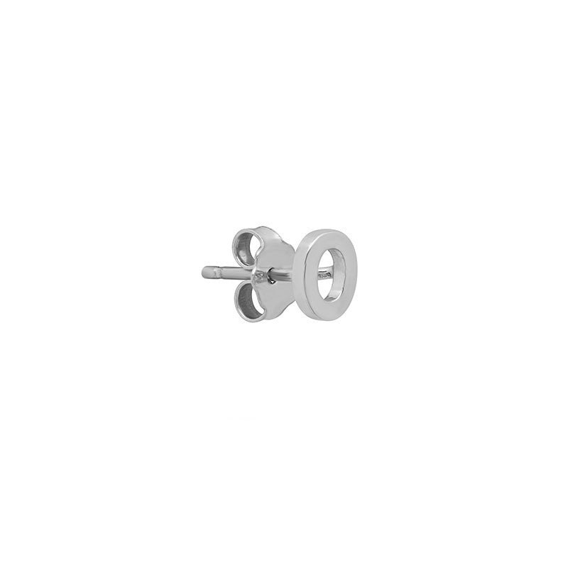 White Gold Mini Uppercase Letter Stud - O
